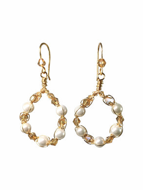 Shell Pearl Hoop Earrings