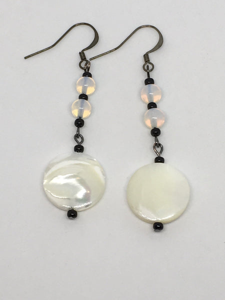 Mother Of Pearl And Moonstone Earrings