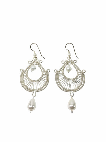 Shell Pearl Bridal Earrings