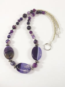Purple Striped Agate Necklace