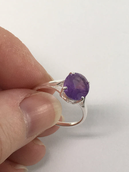 Oval Faceted Amethyst And Sterling Silver Ring