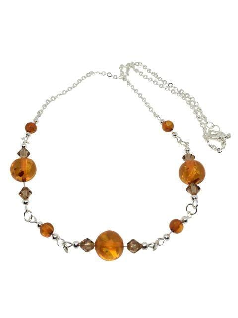 Amber and Swarovski Crystal Necklace