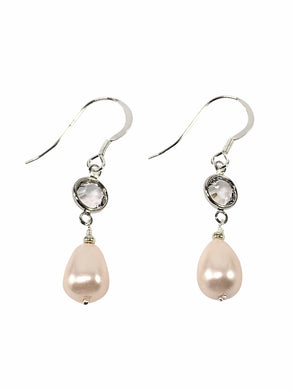 Handmade Sterling Silver Earrings With Pearl And Swarovski Elements