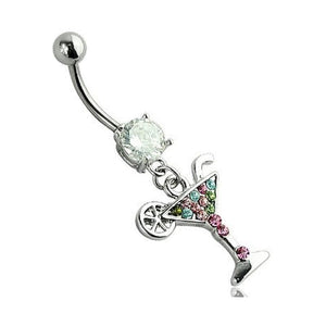 Martini Cocktail Glass Navel Belly Bar