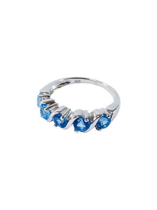 Blue Topaz Gemstone And Sterling Silver Statement Ring