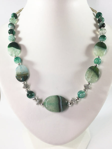 Green Striped Agate Necklace