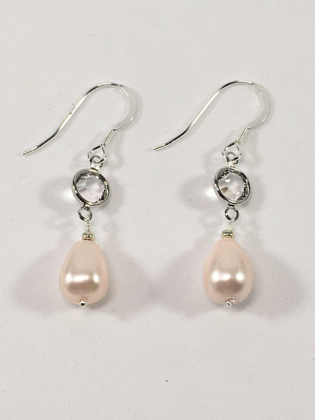 Sterling Silver Shell Pearl Earrings Pink