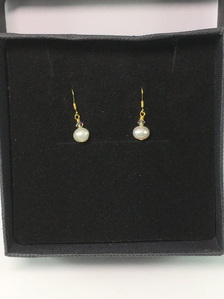 Freshwater Pearl And Swarovski Sterling Silver Bridal Earrings