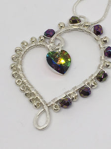 Wire Wrapped Swarovski Heart Pendant