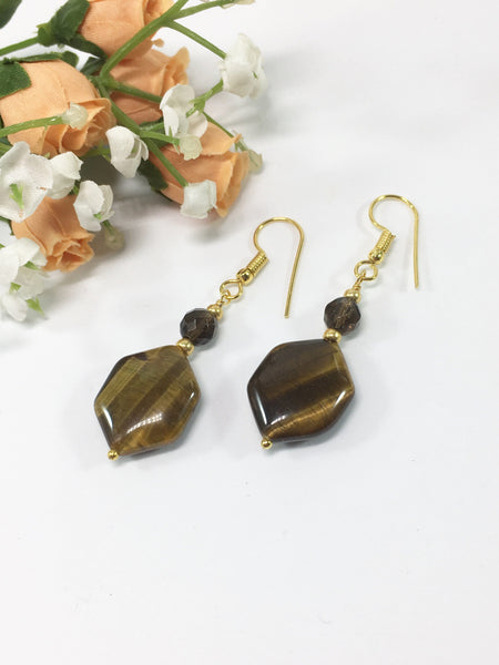 Tigers Eye And Smokey Quartz Gemstone Earrings