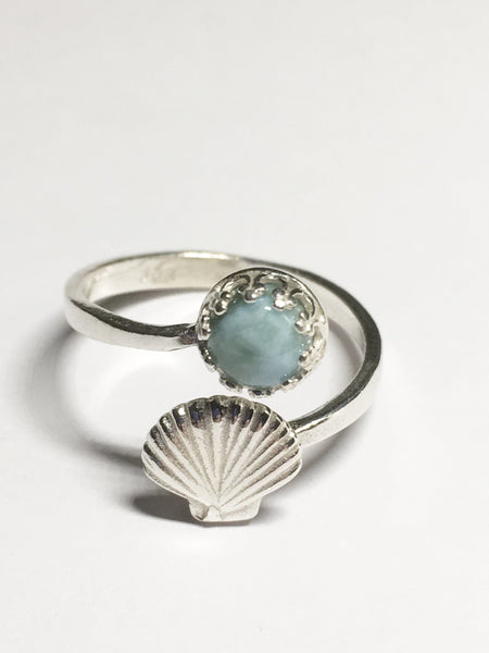 Larimar Shell Ring