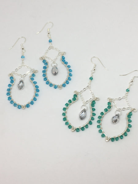 Wire wrapped Crystal Boho Earrings