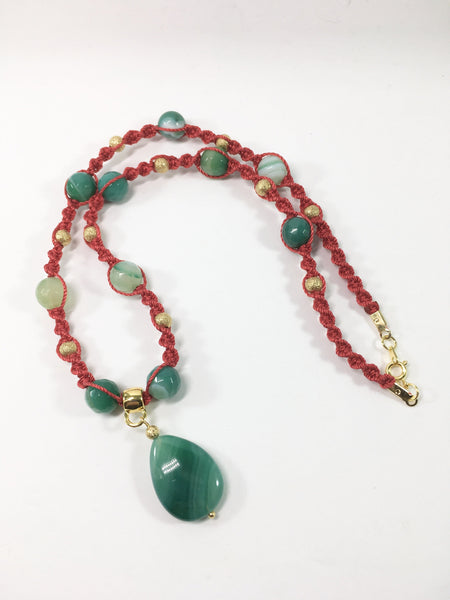 Handmade Green Agate Macrame Necklace