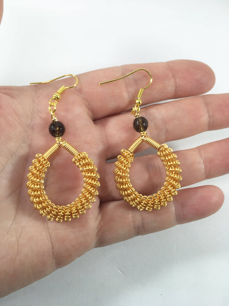 Smokey Quartz Coiled Earrings