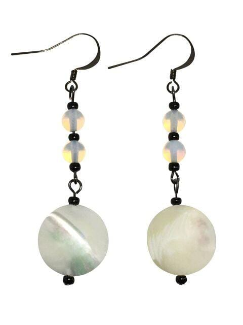 Mother Of Pearl And Moonstone Gemstone Earrings