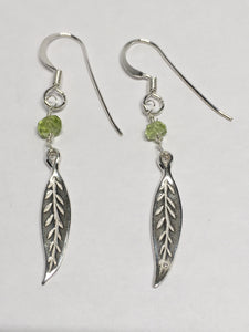 Sterling Silver And Peridot Leaf Earrings