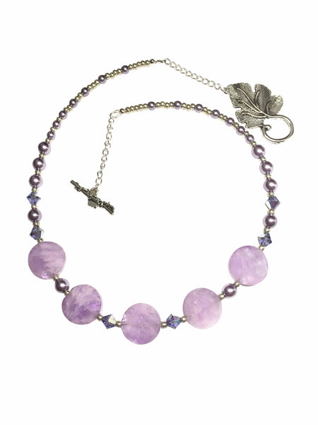 Handmade Amethyst Gemstone And Crystal Necklace