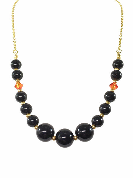 Black Agate And Swarovski Necklace
