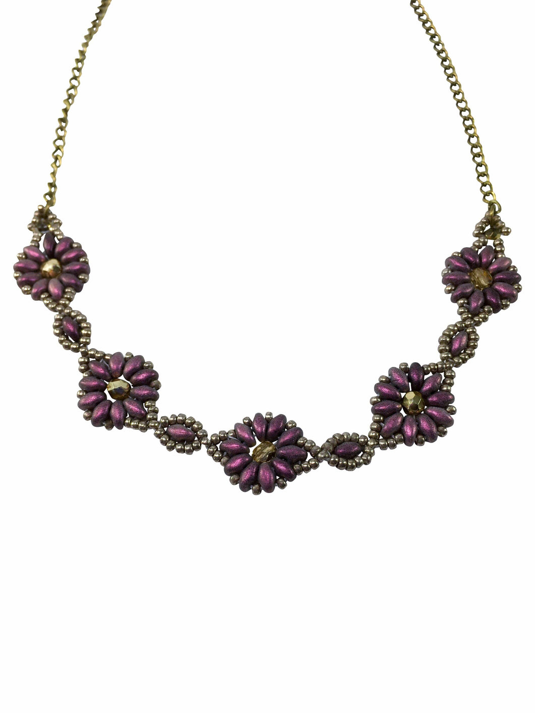 Antique Style Flower Beaded Necklace