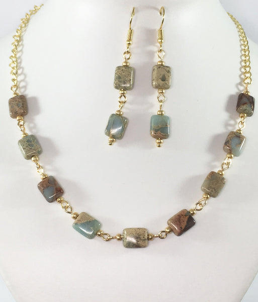 Snakeskin Jasper Necklace Set