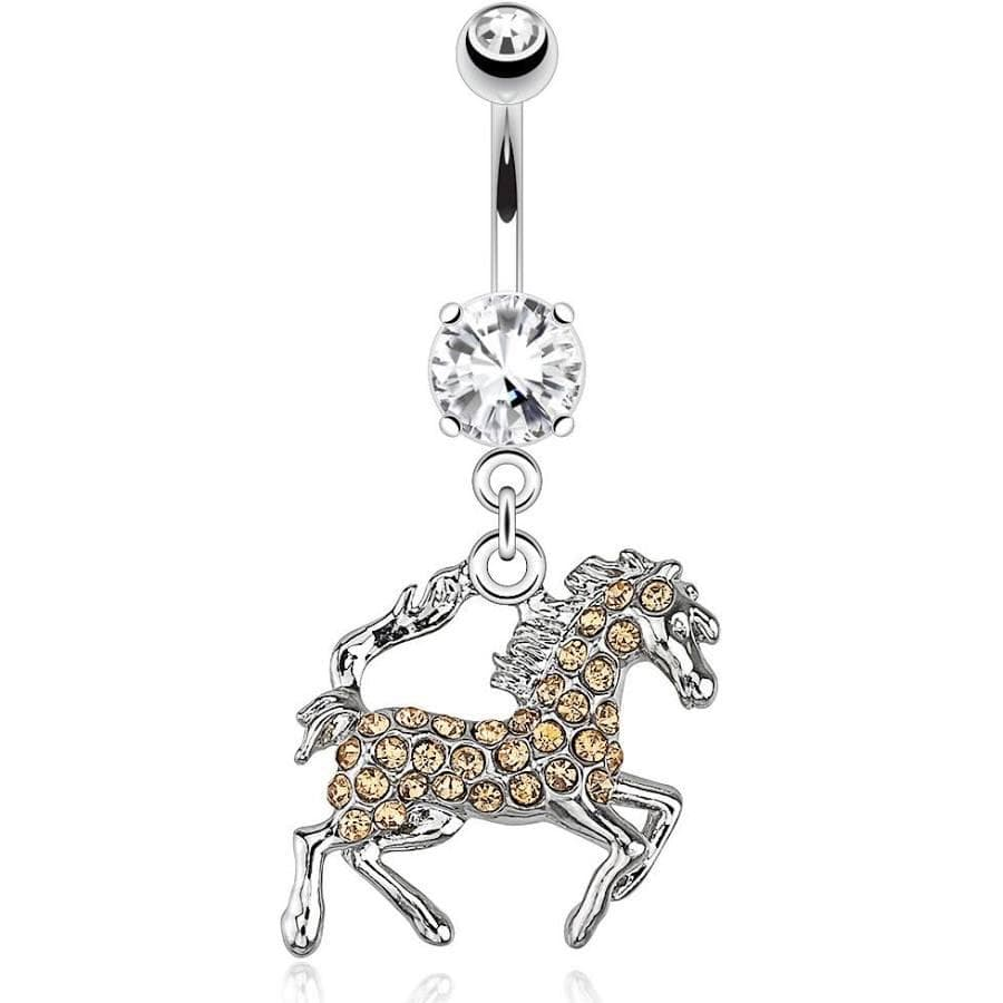 Horse CZ Belly Navel Bar