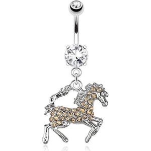 Horse CZ Belly Bar