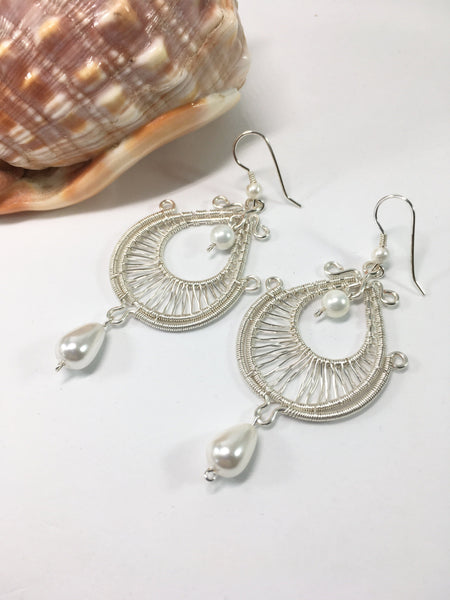Wire Wrapped Bridal Earrings