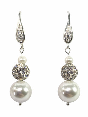 Sterling Silver And Shell Pearl Earrings