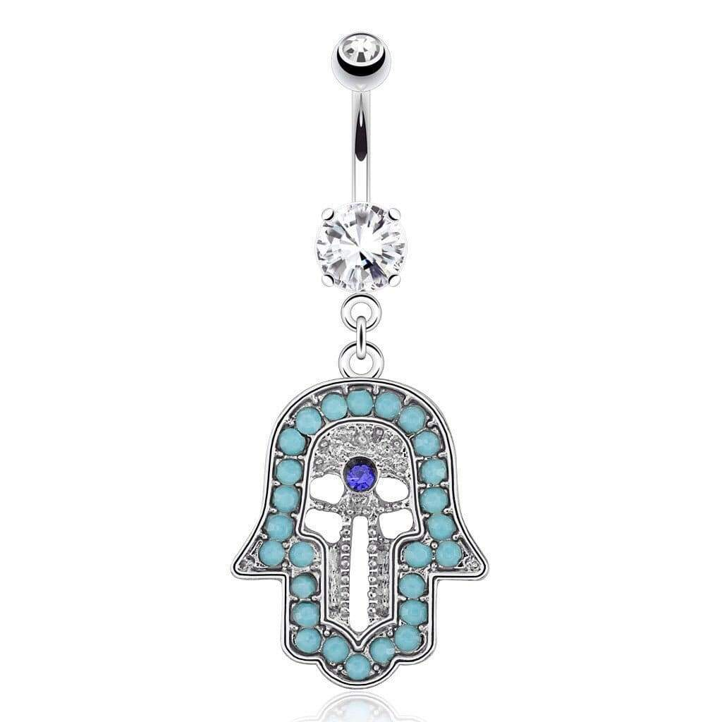 Hamsa CZ Belly Navel Bar