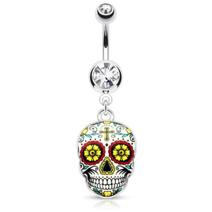 Green Sugar Skull Belly Navel Bar