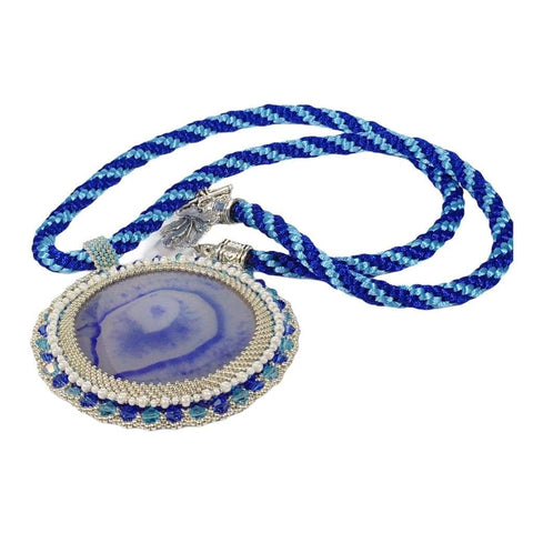 Handmade Blue Onyx Gemstone Beaded Pendant Necklace