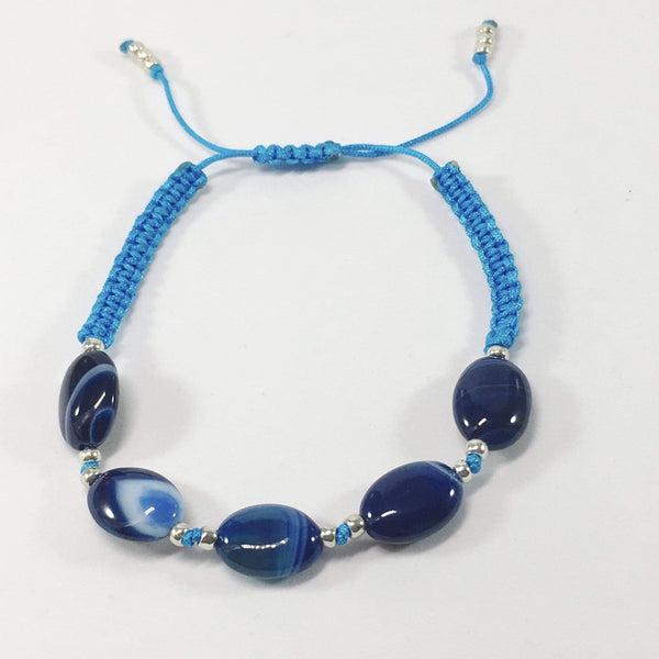 Coloured Adjustable Handmade Agate Gemstone Bracelet Blue