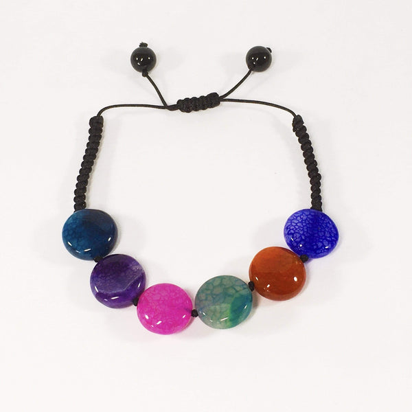Handmade Colourful Agate Gemstone Adjustable Bracelet