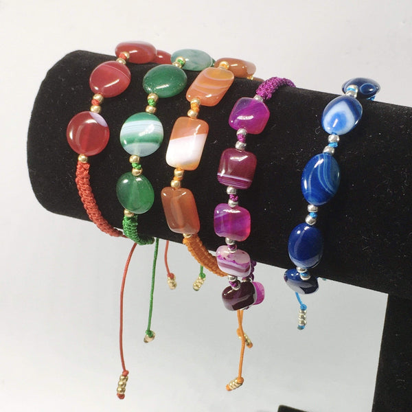 Handmade Coloured Agate Gemstone Adjustable Bracelets