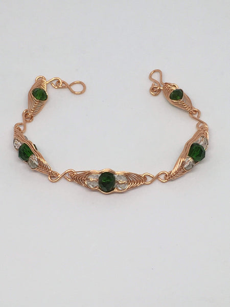 Handmade Copper Wire Wrapped Pea Pod Bracelet