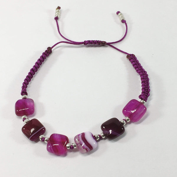 Coloured Adjustable Handmade Agate Gemstone Bracelet Fushia