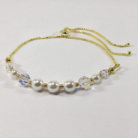 Handmade Shell Pearl And Swaovski Elements Slider Bracelet