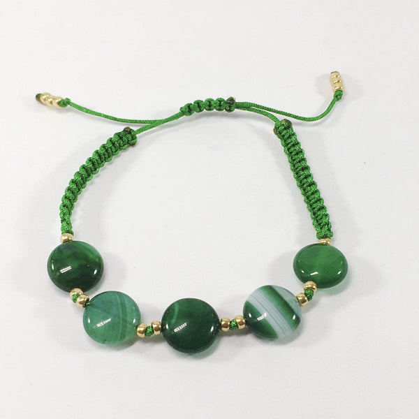 Coloured Adjustable  Handmade Agate Gemstone Bracelet Green