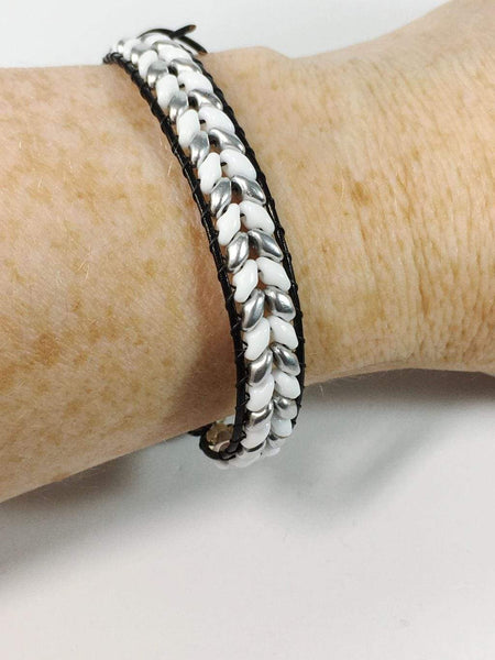 Handmade Herringbone Beaded Wrap Bracelet