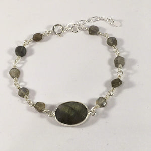 Handmade Labradorite Gemstone And Sterling Silver Bracelet