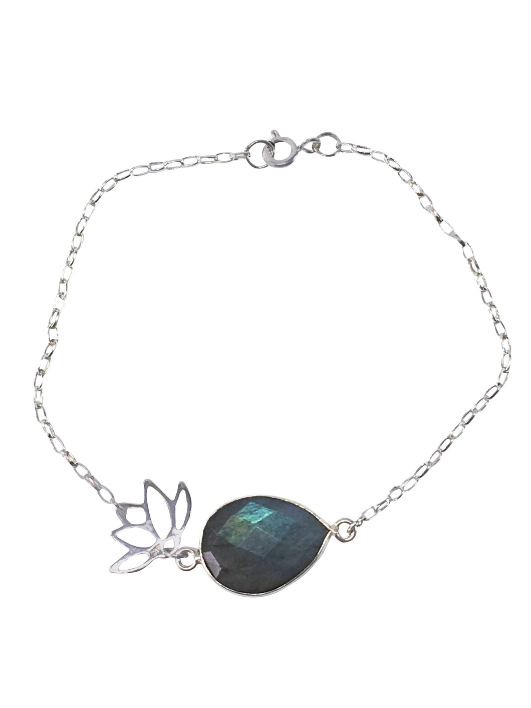 Handmade Sterling Silver And Labradorite Gemstone Bracelet