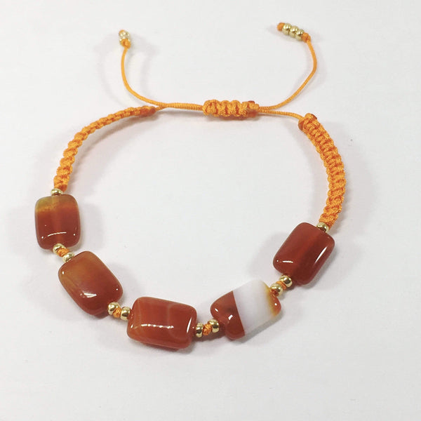 Coloured Adjustable Handmade Agate Gemstone Braclelet Orange