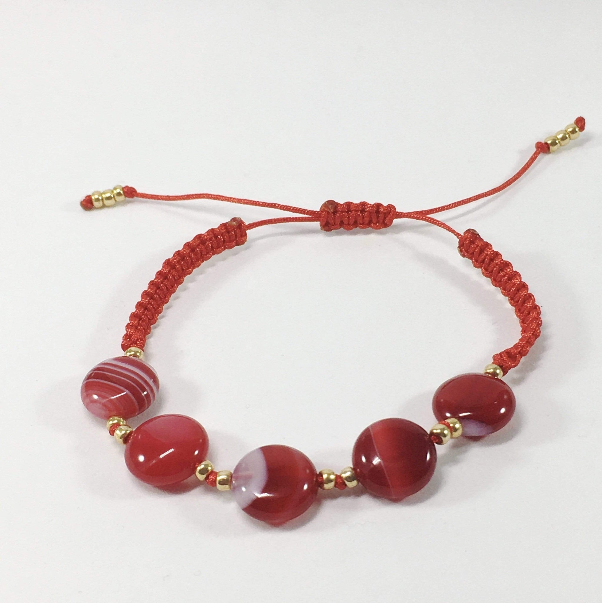 Coloured Adjustable Handmade Agate Gemstone Braclet Red