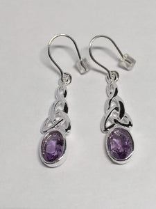Sterling Silver Celtic Gemstone Earrings