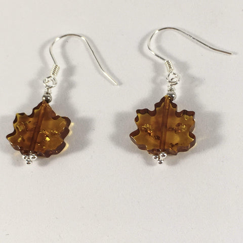 Handmade Baltic Amber Maple Leaf Gemstone And Sterling Silver Earrings