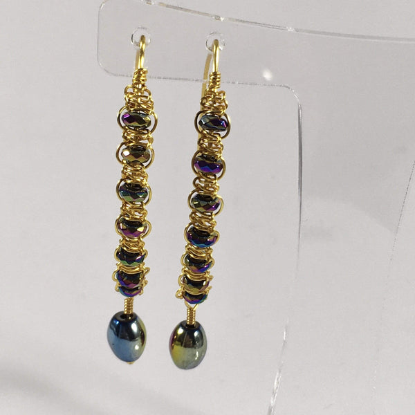 Handmade Rainbow Hematite Gemstone Macrame Earrings