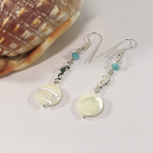Handmade Amazonite And Mother Of Pearl Sea Horse Earrings