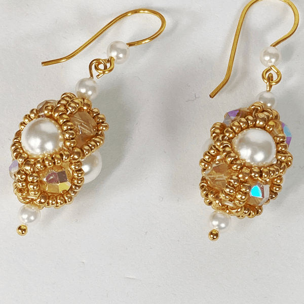 Handmade Shell Pearl Gemstone Beaded Earrings