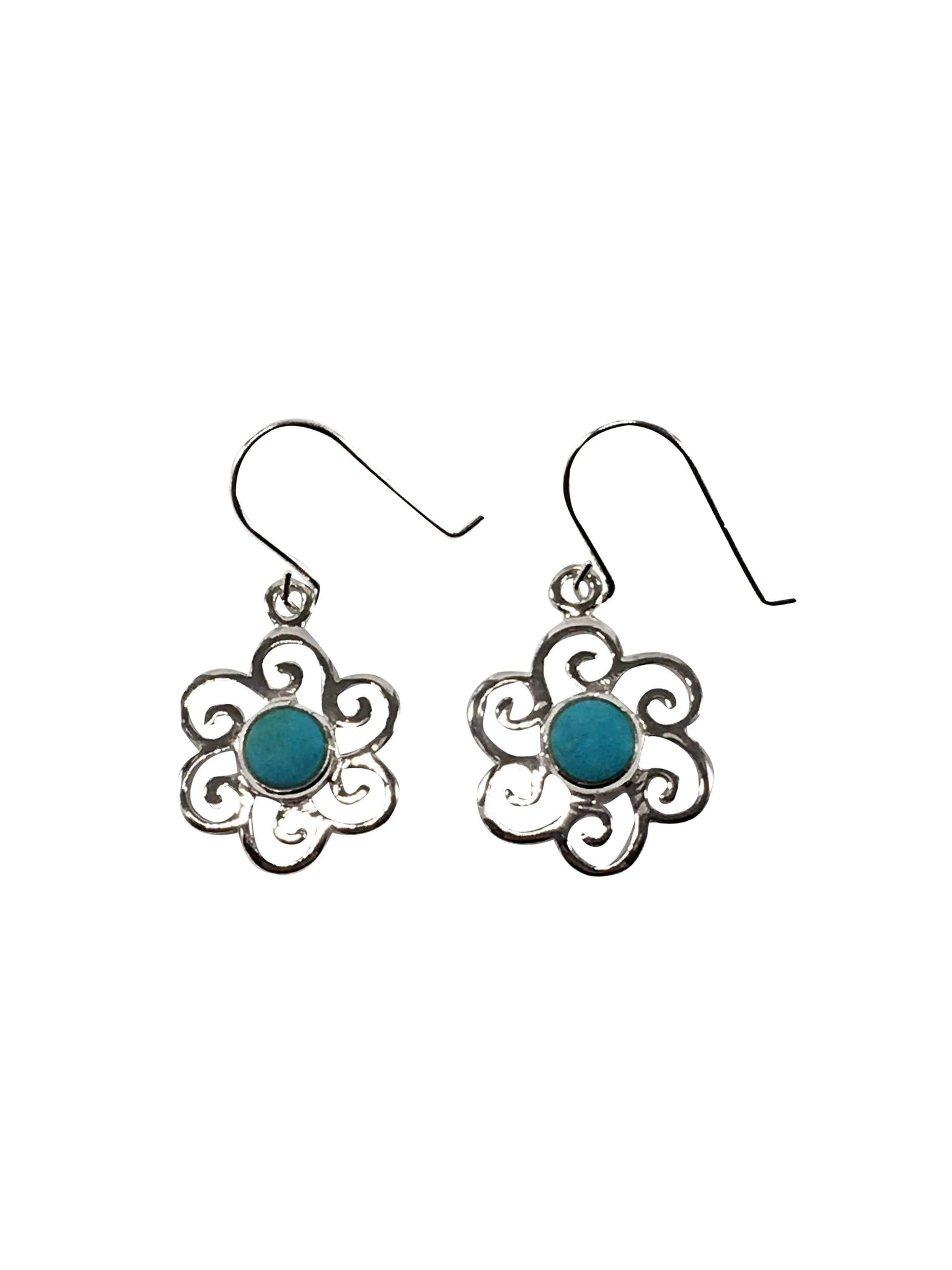 Handmade Turquoise Gemstone Flower Earrings