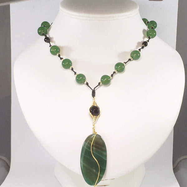 Handmade Green Agate Gemstone Pendant Necklace